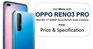 Oppo Reno 3 Pro mobile Price in India- Specification and Features