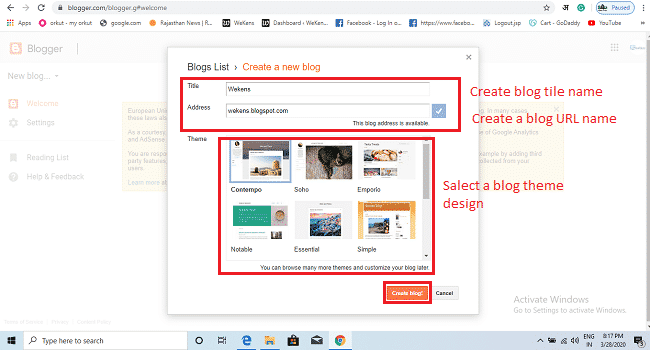 create blog title name and URL